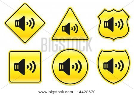 Speakers Icon on Yellow Designs Original Illustration