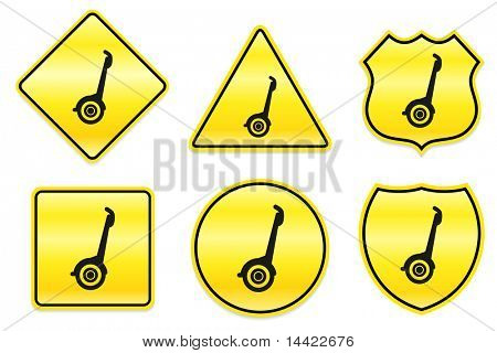 Segway Icon on Yellow Designs Original Illustration