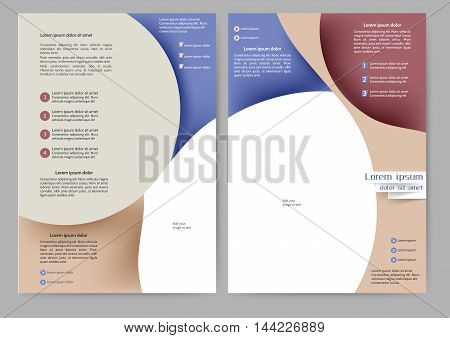 Abstract color brochure template with abstract lines and waves