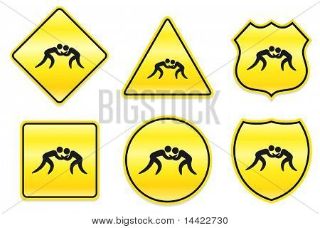 Wrestling Icon on Yellow Designs Original Illustration