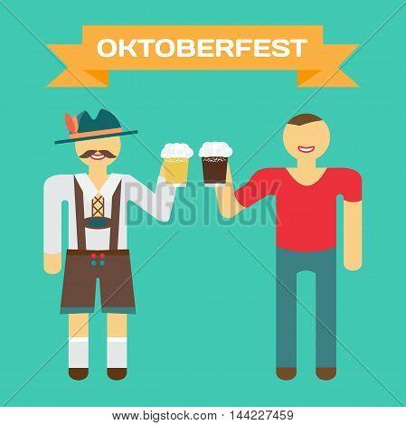 Oktoberfest german man in national costume. Men drink beer out of large mugs. Vector flat cartoon illustration