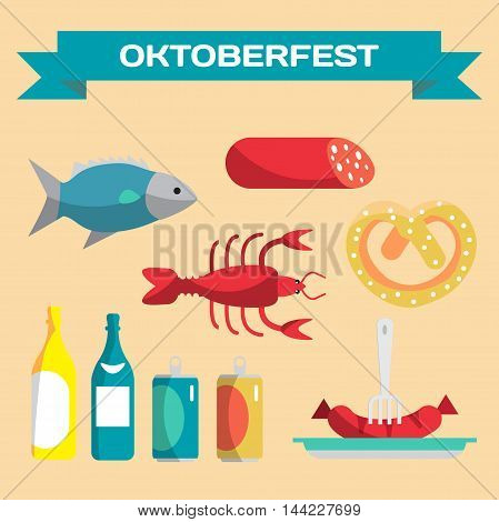 Vector set of icons in a flat cartoon style for Oktoberfest. Food drink cancer dried fish sausage