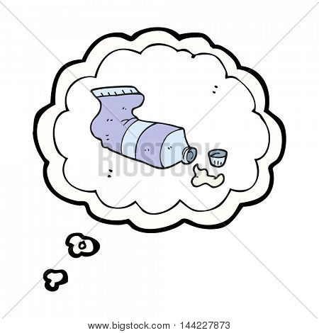 freehand drawn thought bubble cartoon squeezed tube of toothpaste