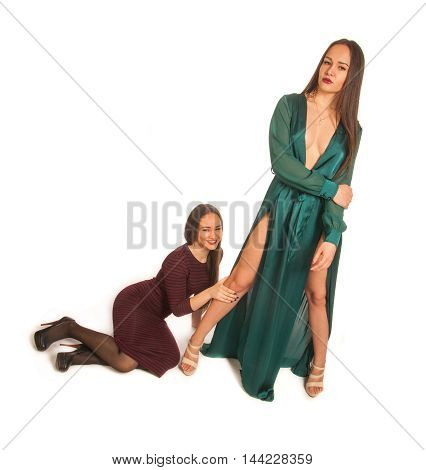 Pretty Girls. Contrast, Modest And Sexuality. Modest Girl Sitting Near The Feet, Sexy Dress Standing
