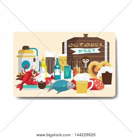 Octoberfest party flyer. Still life of food and beverages. Beer mugs bottles barrel sausages ham snack. Vector flat cartoon illustration