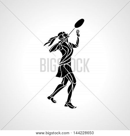 Silhouette of abstract female badminton player doing smash shot. Black and white outline professional badminton player. Vector illustration