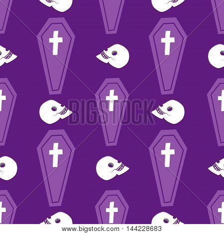 Seamless halloween coffin X cross skull pattern