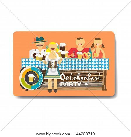Octoberfest party flyer. Man and woman drinking beer with friends in national costumes. Vector flat cartoon illustration