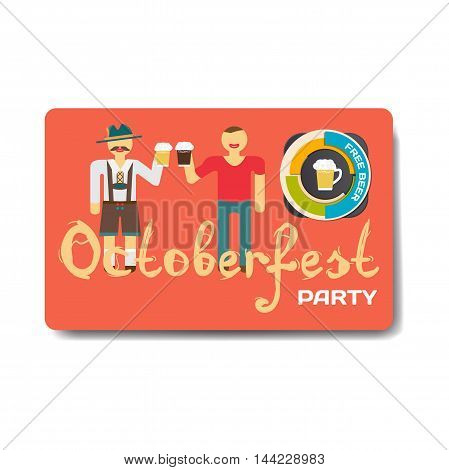 Octoberfest party flyer. Men drink beer out of large mugs. Beer free. Vector flat cartoon illustration