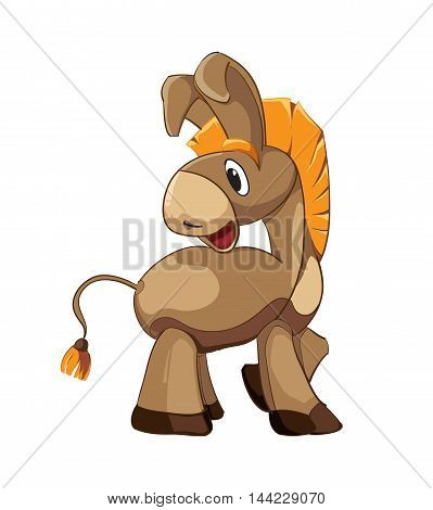 vector illustration of cartoon brown donkey isolate on white background