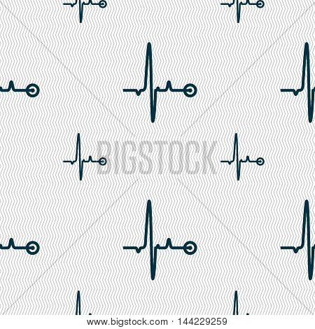Heartbeat Sign. Seamless Pattern With Geometric Texture. Vector