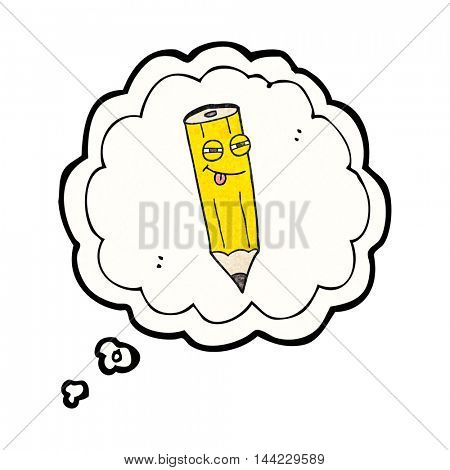 happy freehand drawn thought bubble textured cartoon sly pencil