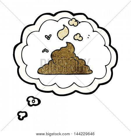 freehand drawn thought bubble textured cartoon steaming pile of poop