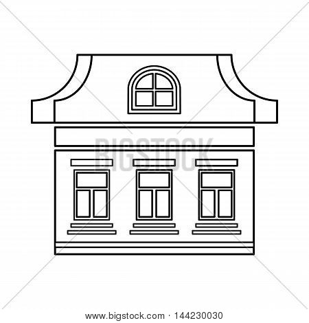 One storey house with three windows icon in outline style isolated on white background. Building symbol