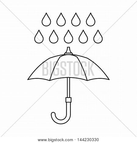 Umbrella and rain icon in outline style isolated on white background. Weather symbol