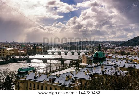 Amazing Towers Of Charles Bridge And Old Town District With Several Bridges At Vltava River During W