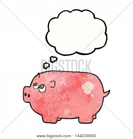 freehand drawn thought bubble textured cartoon piggy bank