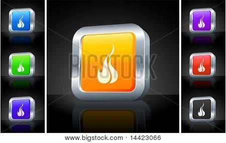 Fire Icon on 3D Button with Metallic Rim Original Illustration