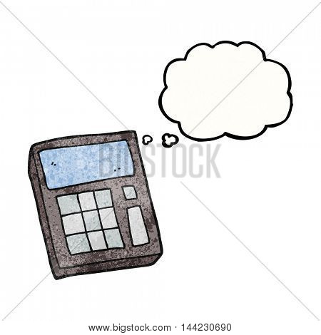 freehand drawn thought bubble textured cartoon calculator