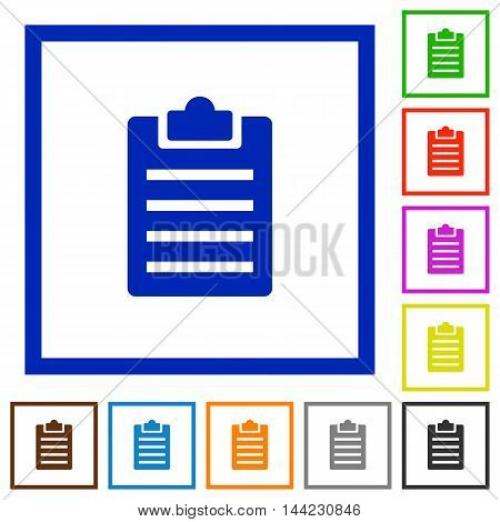 Set of color square framed notes flat icons