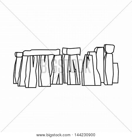 Stonehenge icon in outline style isolated on white background. Landmark symbol