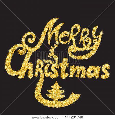 Merry Christmas text. Golden glitter lettering. Christmas card.