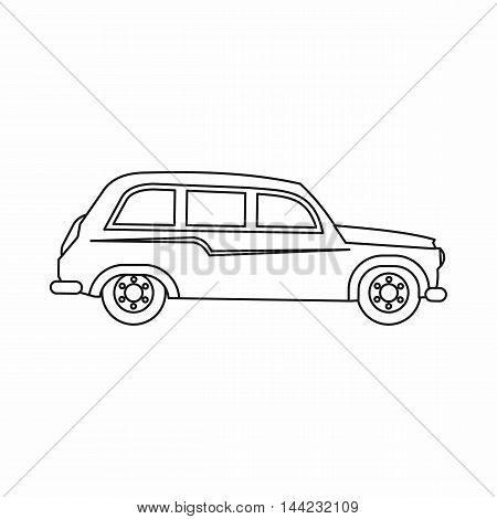 Retro car icon in outline style isolated on white background. Transport symbol