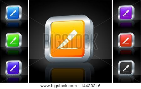 Scalpel Icon on 3D Button with Metallic Rim Original Illustration