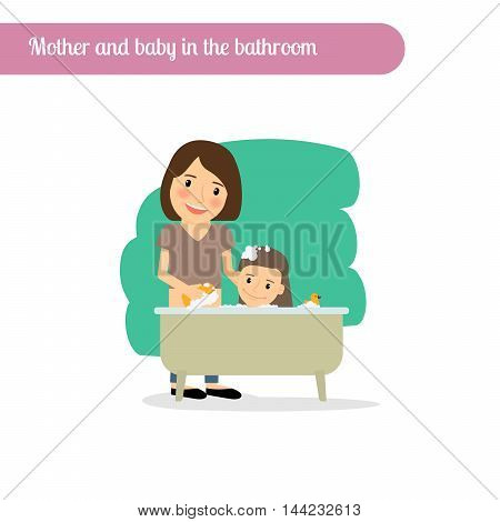 Mother and baby in the bathtub, vector cartoon character
