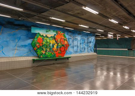 STOCKHOLM-SWEDEN-2014-04-26.Art in Stockolm underground. Stadion metro station is on the red line of the Stockholm metro, located in the district of