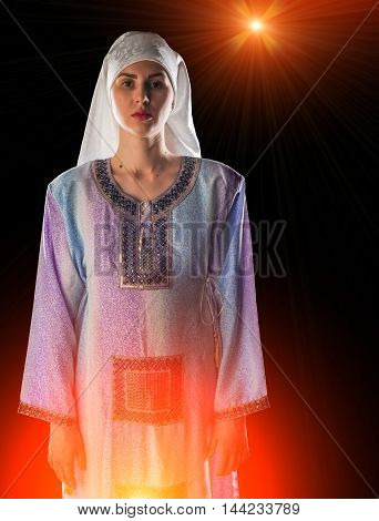 Muslim Girl Wearing A Hijab, A White Scarf, A Blue Long Dress. Very Beautiful Girl.