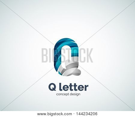 Vector Q letter business logo, modern abstract geometric elegant design. Created with waves