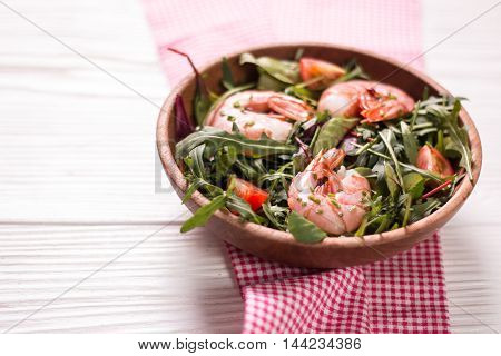 Green Salad With Shrimps On Wooden Table.healthy Food