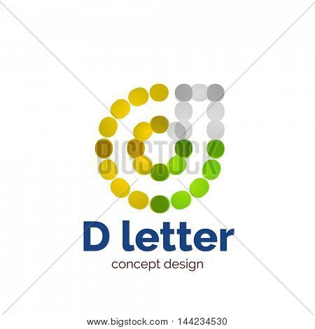Vector modern minimalistic dotted letter concept logo template, abstract business icon