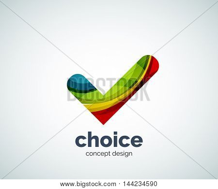 Vector choice concept, tick logo template, abstract business icon