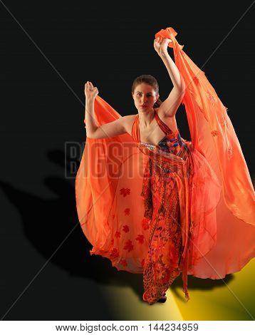 Beautiful Girl, Beautiful Red Dress, Develops From The Wind Stream, Beautiful Light. Frozen Dynamics