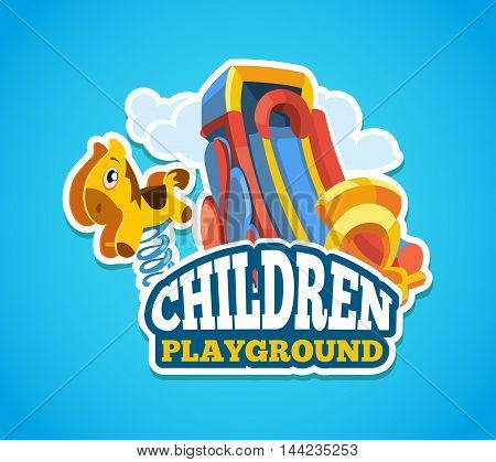 Vector illustration of color emblem with toys for summer games and children slides on playground. Advertise label with place for your text. Picture isolate on blue background