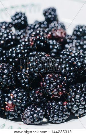 Macro of delicious and fresh blackberries on plate.Bokeh