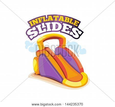 Vector illustration of color emblem inflatable slide on playground. Advertise label with place for your text. Picture isolate on white background