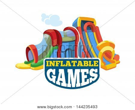 Vector illustration of color emblem with inflatable slides on playground. Advertise label with place for your text. Picture isolate on white background