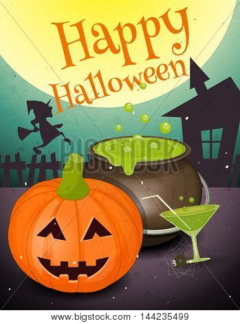 Halloween Card in Retro Style Poster - Pumpkin and Green Potion in Night. Vintage Design. Vector Illustration.