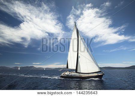 Boat in sailing regatta on the sea. Luxury yachts.