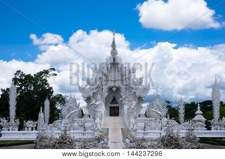 white temple at Chiang Rai in Thailand is landmark and travel destination