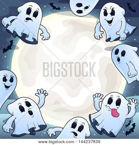 Night sky with ghosts theme 1 - eps10 vector illustration.