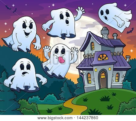 Ghosts near haunted house theme 2 - eps10 vector illustration.