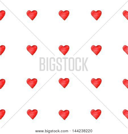 Watercolor red hearts seamless pattern on white background