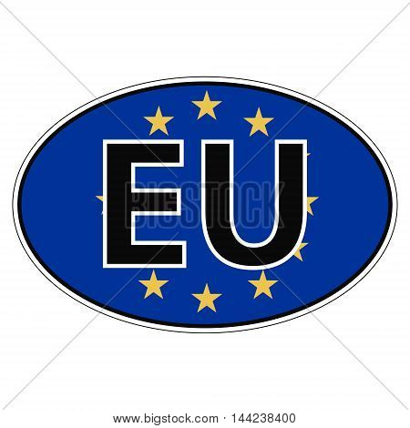 Sticker on car, flag European, Union, Europa the inscription EU vector for print or website design for language buttons