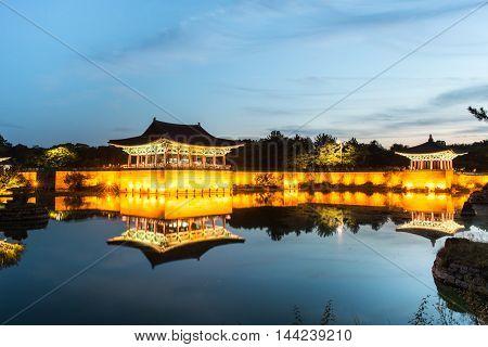 Gyeongju, South Korea - August 18, 2016 : Donggung Palace And Wolji Pond At Night, Gyeongju, South K