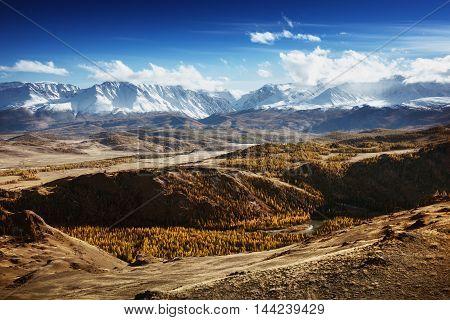 Mountain valley landscape. Altai mountains, Siberia, Russia