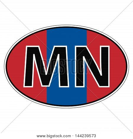Sticker on car, flag Mongolia with the inscription MN vector for print or website design for language buttons